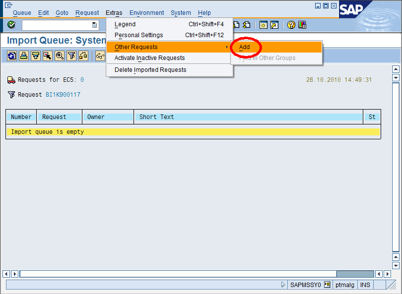 How to import an SAP Transport Request with the Transport Management